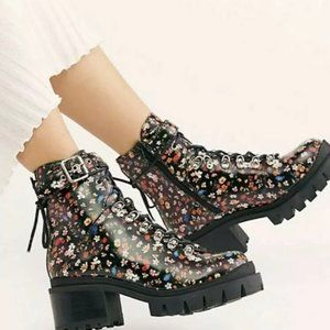 Free People Floral Printed Check - Up Lace Boots